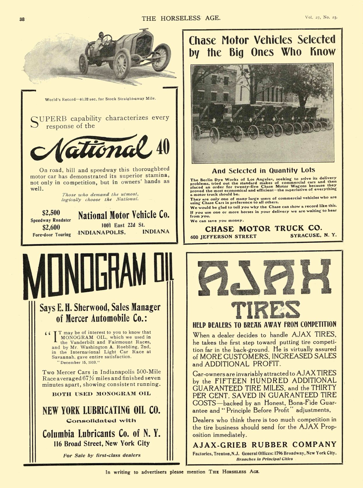 1911 6 21 NATIONAL National 40 National Motor Vehicle Co. Indianapolis, IND THE HORSELESS AGE June 21, 1911 8.5″x11.5″ page 38