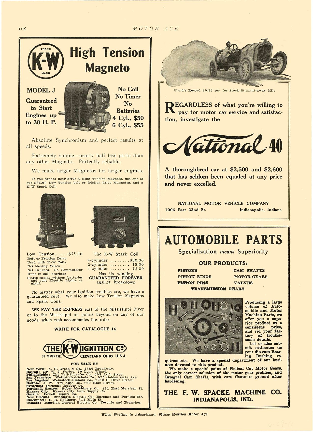 1911 6 29 NATIONAL National 40 NATIONAL MOTOR VEHICLE COMPANY Indianapolis, IND MOTOR AGE June 29, 1911 8.5″x11.75″ page 108