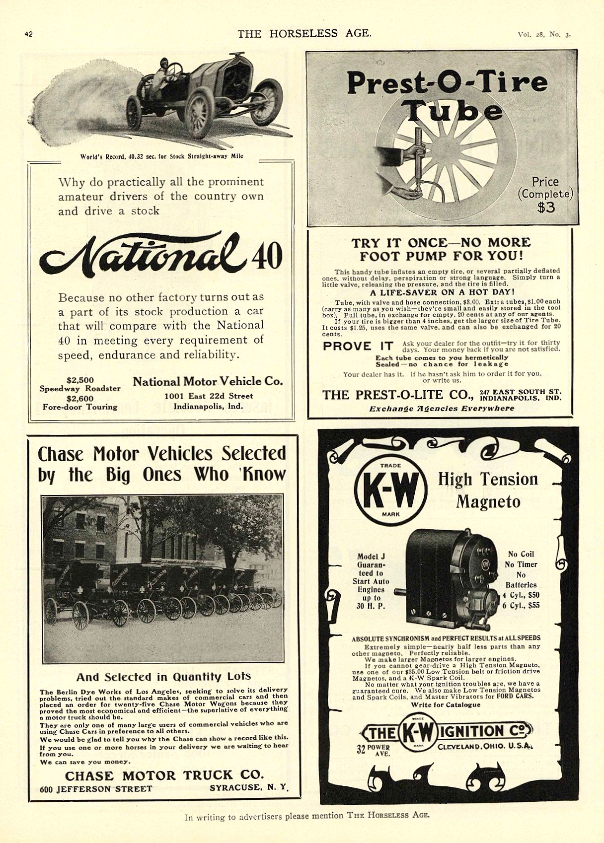 1911 7 19 NATIONAL National 40 $2,500 Speedway Roadster National Motor Vehicle Co. Indianapolis, IND THE HORSELESS AGE July 19, 1911 8.5″x11.75″ page 42