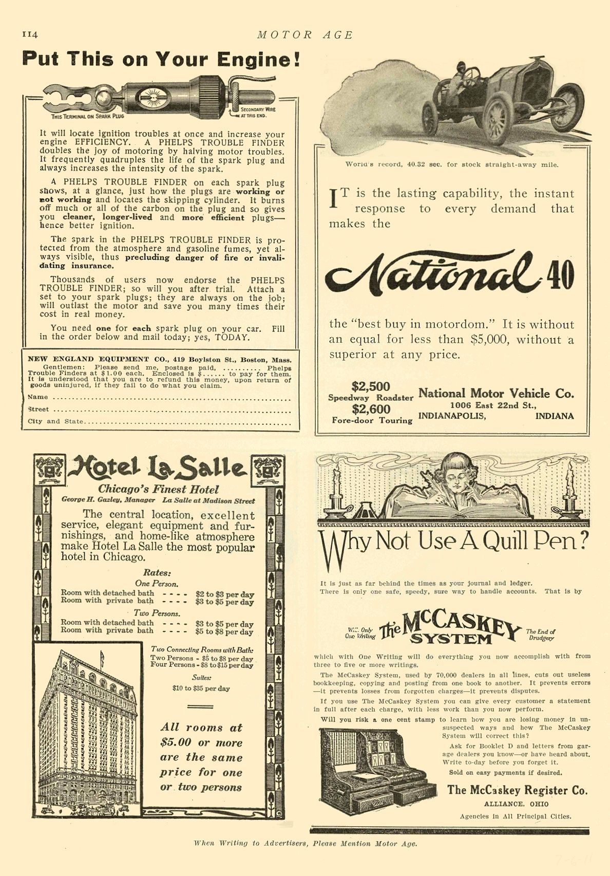 1911 7 6 NATIONAL National 40 National Motor Vehicle Co. Indianapolis, IND MOTOR AGE July 6, 1911 8.5″x12″ page 114