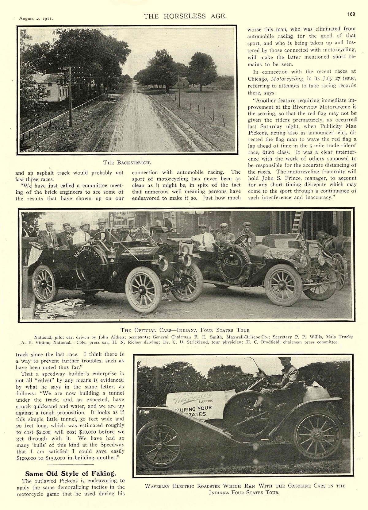 1911 8 2 NATIONAL THE OFFICIAL CARS— INDIANA FOUR STATES TOUR National Motor Vehicle Co. Indianapolis, IND THE HORSELESS AGE August 2, 1911 8.25″x12″ page 169