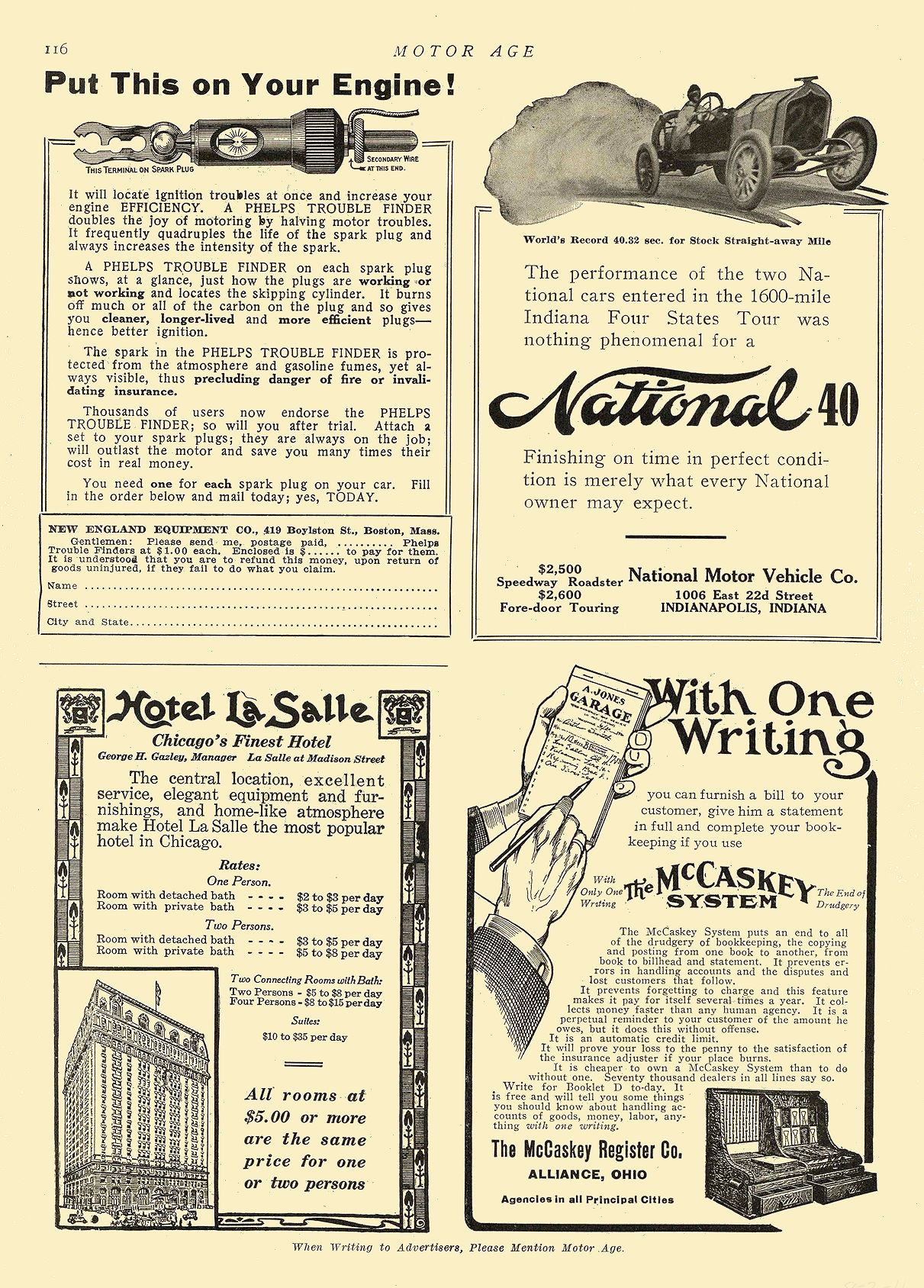 1911 8 3 NATIONAL National 40 National Motor Vehicle Co. Indianapolis, IND MOTOR AGE August 3, 1911 8.25″x12″ page 116