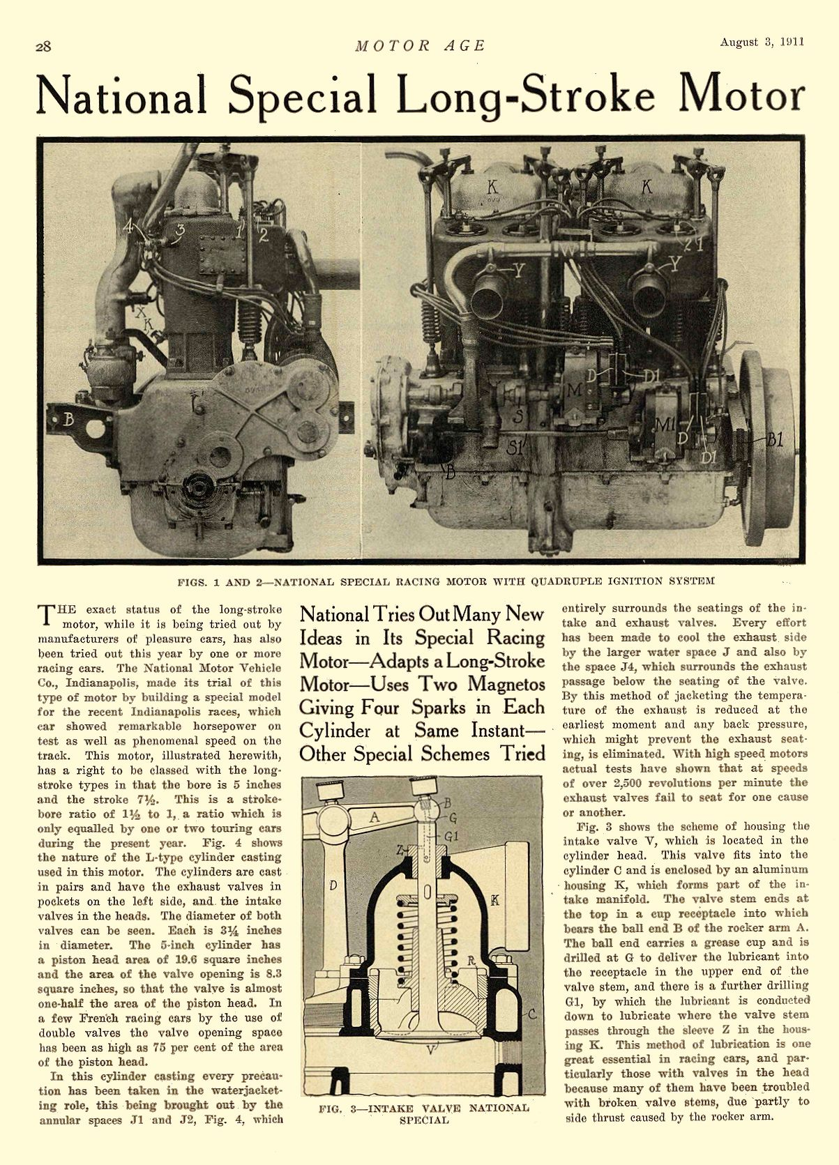 1911 8 3 NATIONAL Article National Special Long-Stroke Motor National Motor Vehicle Co. Indianapolis, IND MOTOR AGE August 3, 1911 8.5″x11.75″ page 28
