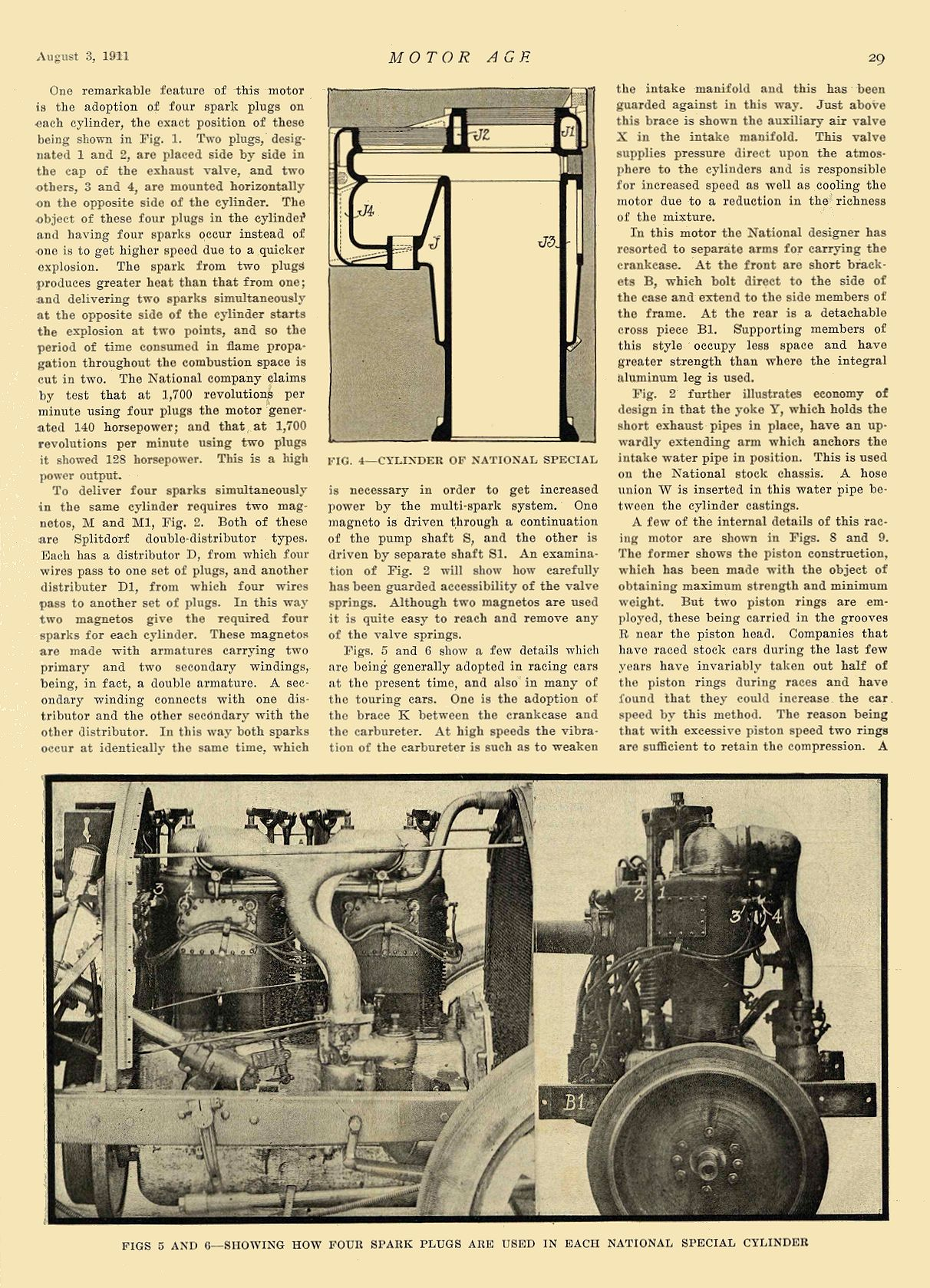 1911 8 3 NATIONAL Article National Special Long-Stroke Motor National Motor Vehicle Co. Indianapolis, IND MOTOR AGE August 3, 1911 8.5″x11.75″ page 29