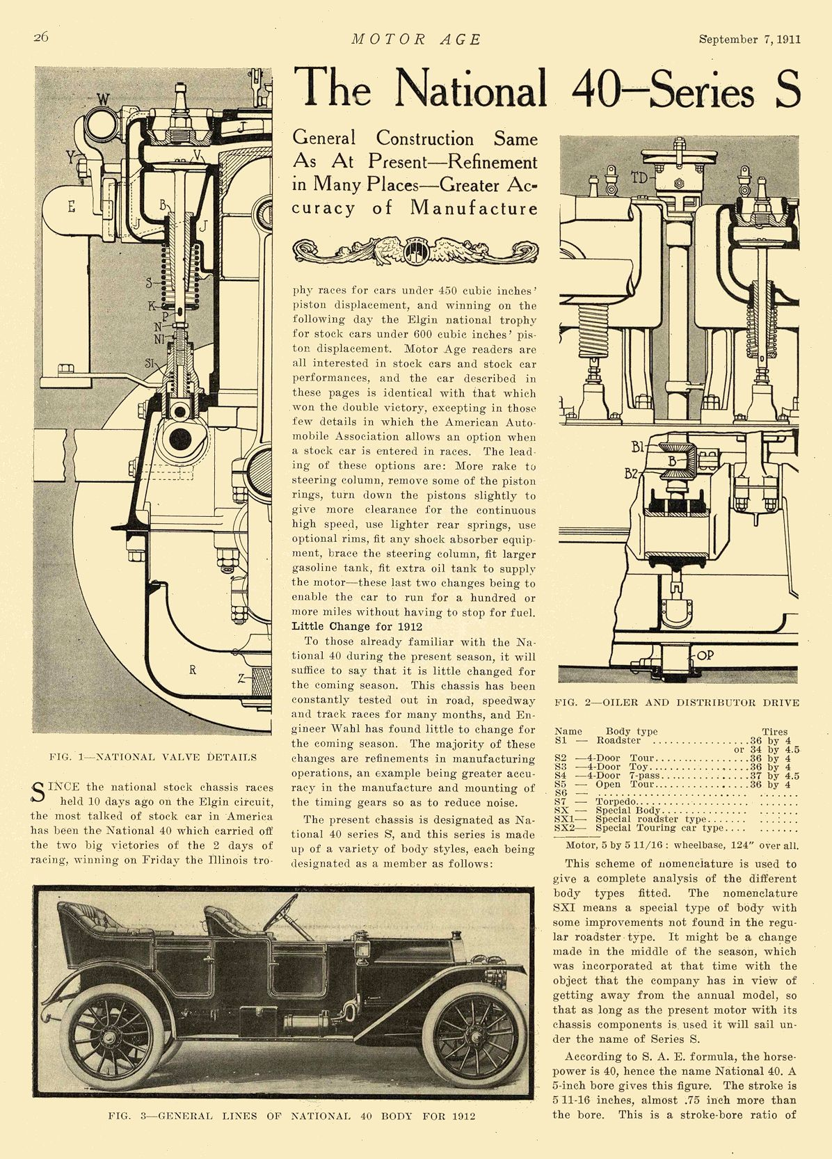 1912 9 7 NATIONAL Article The National 40—Series S National Motor Vehicle Co. Indianapolis, IND MOTOR AGE September 7, 1911 8.25″x12″ page 26