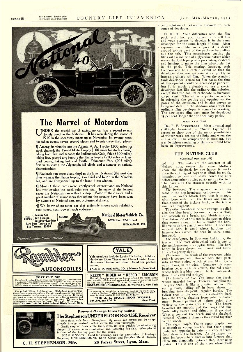 """1911 1 NATIONAL National """"40"""" The Marvel of Motordom $2,500 = $59,432 in 2011 Country Life in America Jan 1911 9.25″x13.5″ page ccxxviii"""