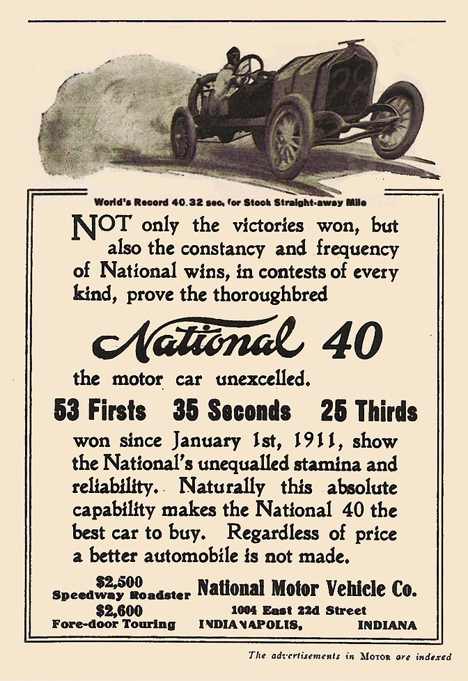 1911 9 NATIONALNational 40 53 Firsts 35 Seconds 25 Thirds MoToR Sept 1911 4.75″x7″