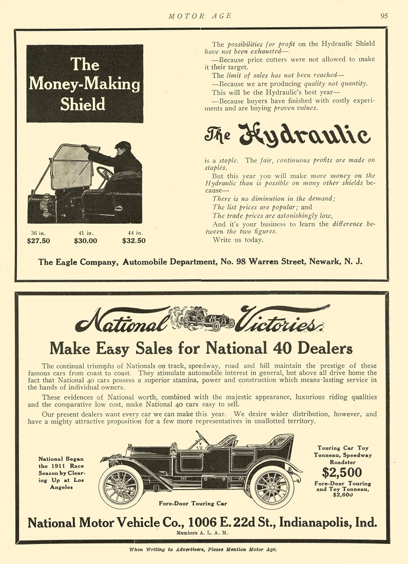 1911 2 23 NATIONAL National Victories National Motor Vehicle Co Indianapolis, IND MOTOR AGE Feb 23, 1911 8.5″x12″ page 95