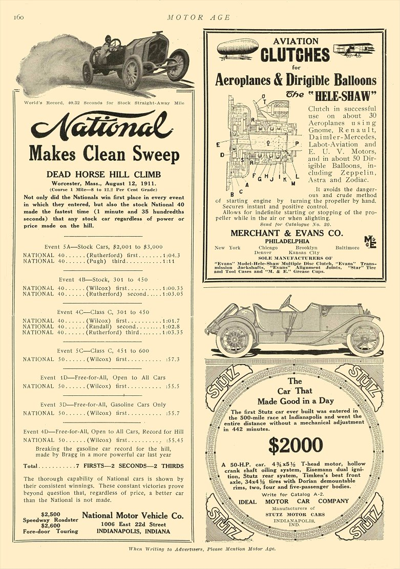 1911 8 17 National Makes Clean Sweep Dead Horse Hill Climb Worchester, Mass Aug 12, 1911 MOTOR AGE Aug 17, 1911 8.5″x12″ page 160