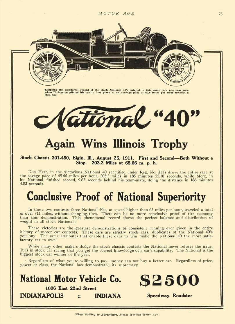 1911 8 31 NATIONAL Again Wins Illinois Trophy National Motor Vehicle Co Indianapolis, IND MOTOR AGE Aug 31, 1911 8.5″x12″ page 75