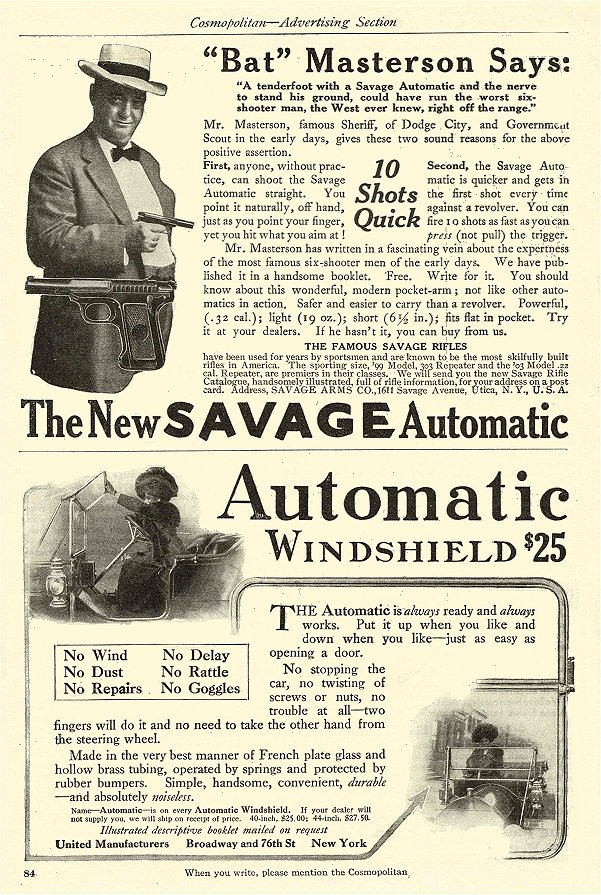 """1911 The New SAVAGE Automatic """"Bat"""" Masterson Says: Savage Arms Co Utica, NY THE COSMOPOLITAN – Advertising Section 6″x9″ page 83"""