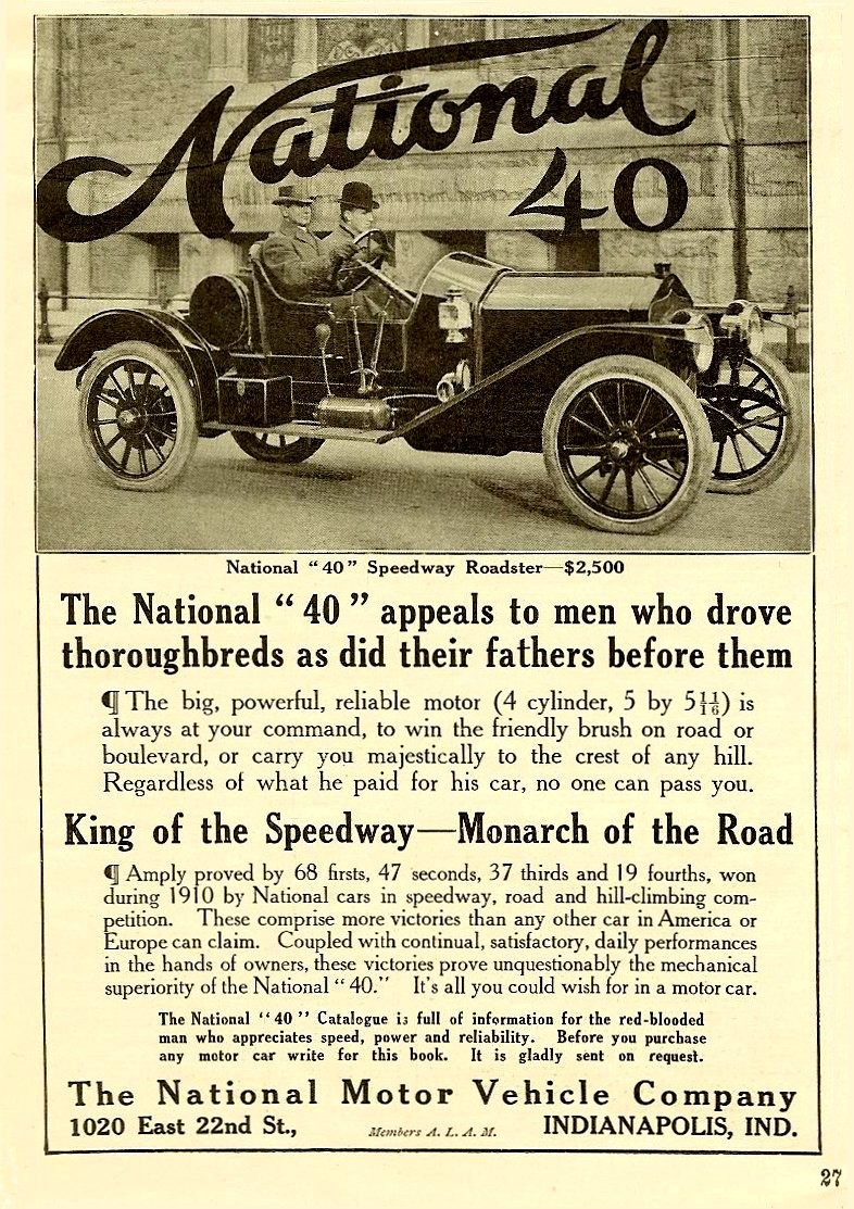 """1911 5 6 National 40 National """"40"""" Speedway Roadster – $2,500 Harper's Weekly Advertiser magazine May 6, 1911 5″x7″page 27"""