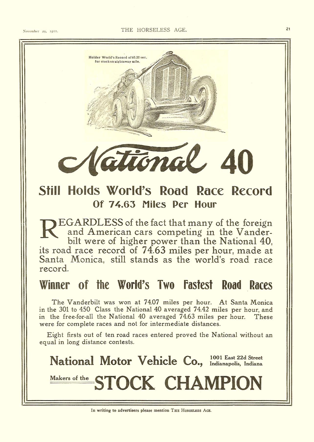1911 11 29 National 40 STOCK CHAMPION THE HORSELESS AGE November 29, 1911 Vol. 28 No. 22 9″x12″ page 21
