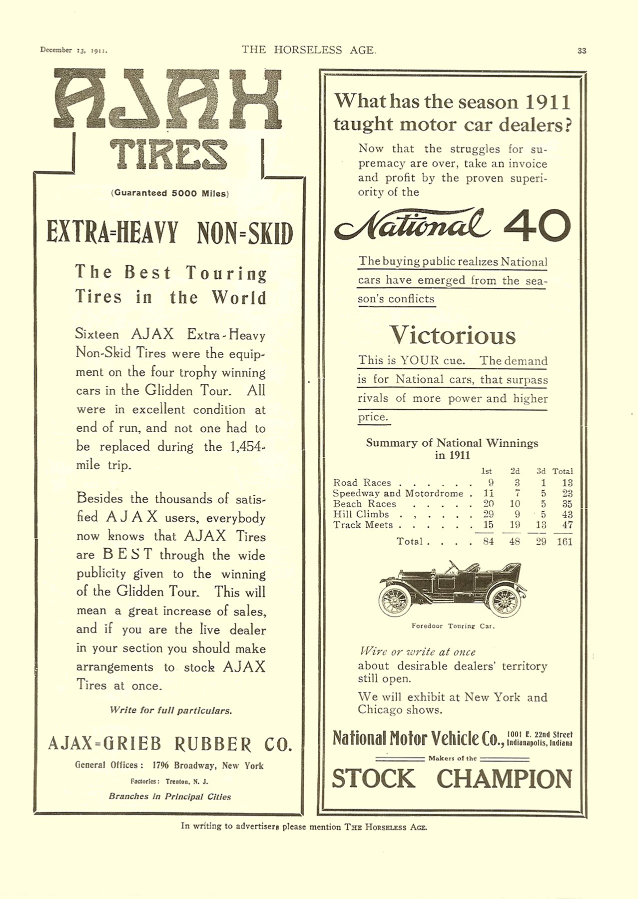 1911 12 13 National 40 Victorious THE HORSELESS AGE December 13, 1911 Vol. 28 No. 24 9″x12″ page 33