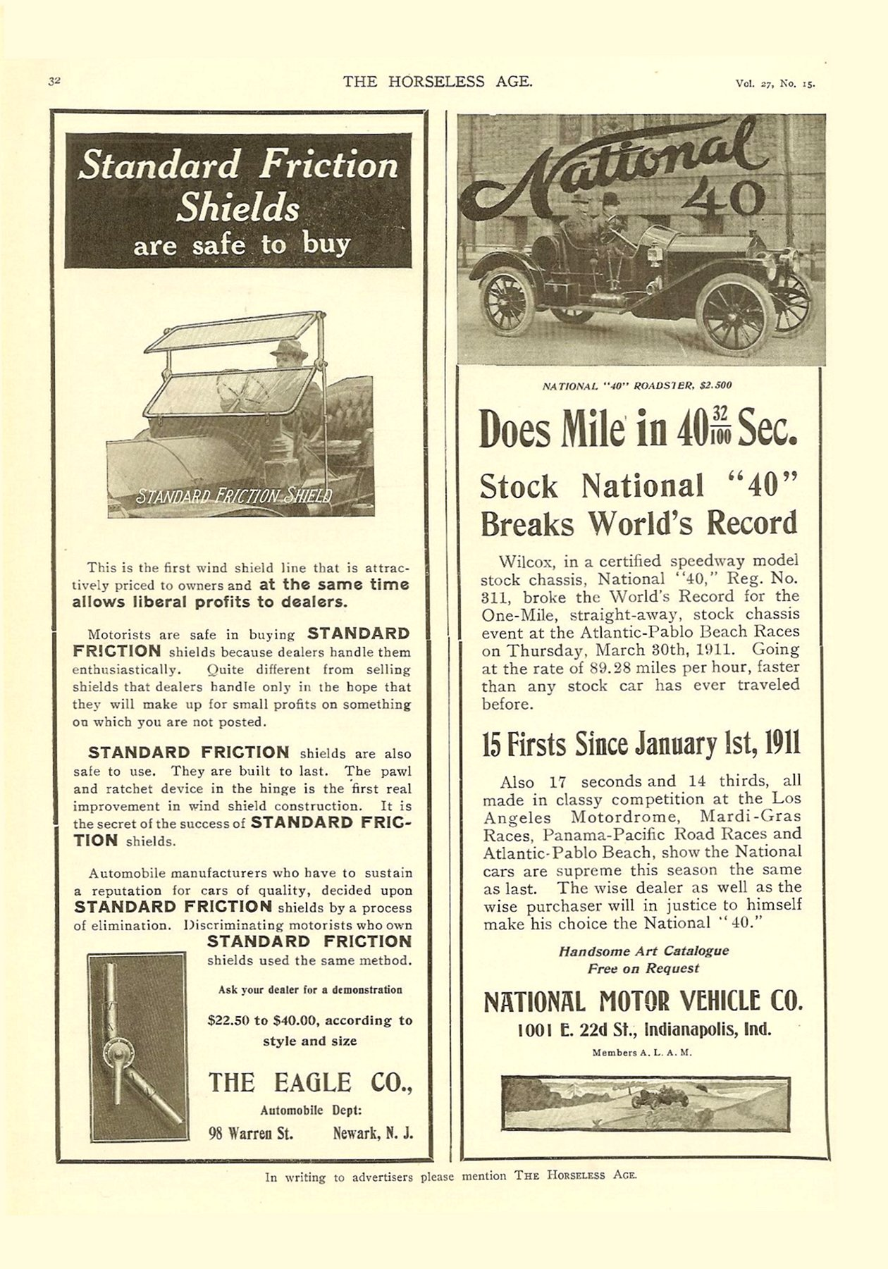 1911 4 12 National 40 Does Mile in 40 32/100 Sec. THE HORSELESS AGE April 12, 1911 Vol. 27 No. 15 9″x12″ page 32