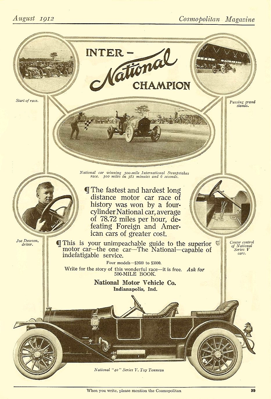 1912 8 National Inter- National Champion Cosmopolitan magazine August 1912 6.25″x9.5″ page 99