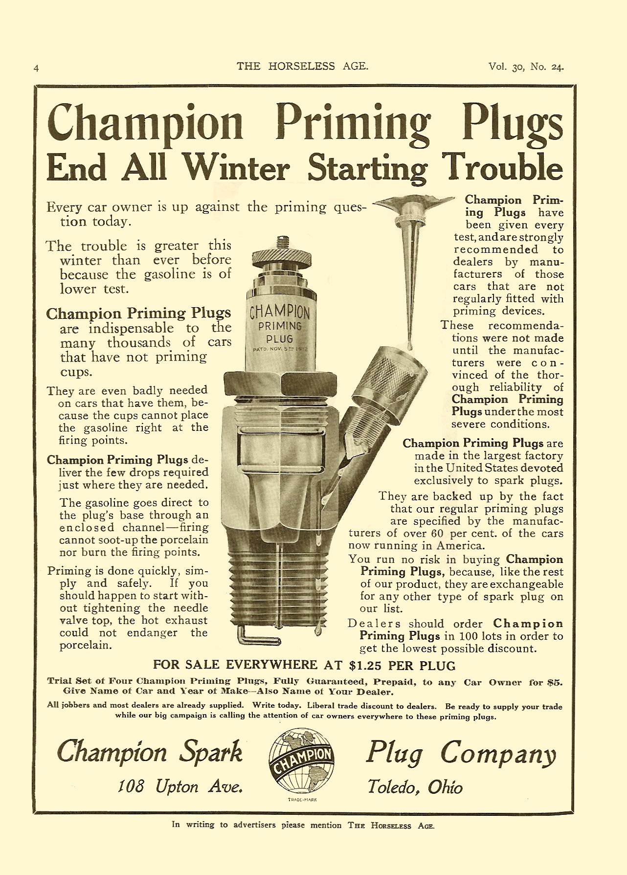 1912 12 11 CHAMPION Spark Plugs Toledo, Ohio THE HORSELESS AGE Dec 11, 1912 Vol. 30 No. 24 9″x12″ page 4