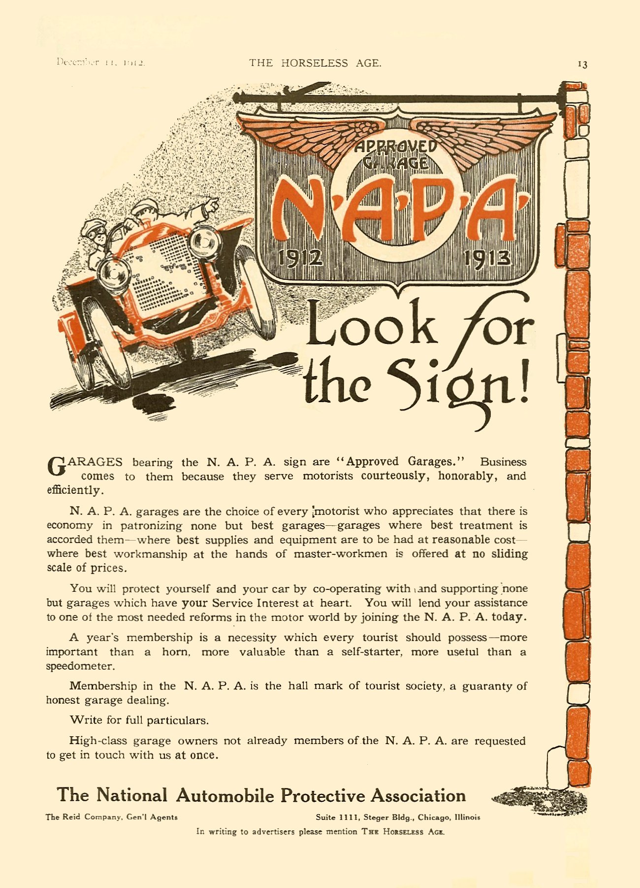 """1912 12 11 N.A.P.A. 1913 (National Automobile Protective Association) """"Look for the Sign!"""" THE HORSELESS AGE Dec 11, 1912 Vol. 30 No. 24 9″x12″ page 13"""