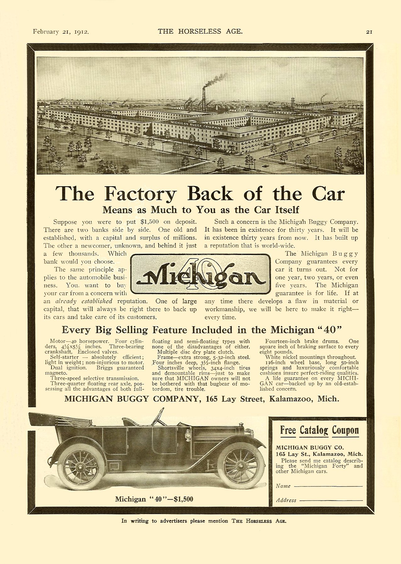 1912 2 21 Michigan 40 The Factory Back of the Car Michigan Buggy Co Kalamazoo, MICH THE HORSELESS AGE Vol. 29, No. 8 February 21, 1912 9″x12″ page 21