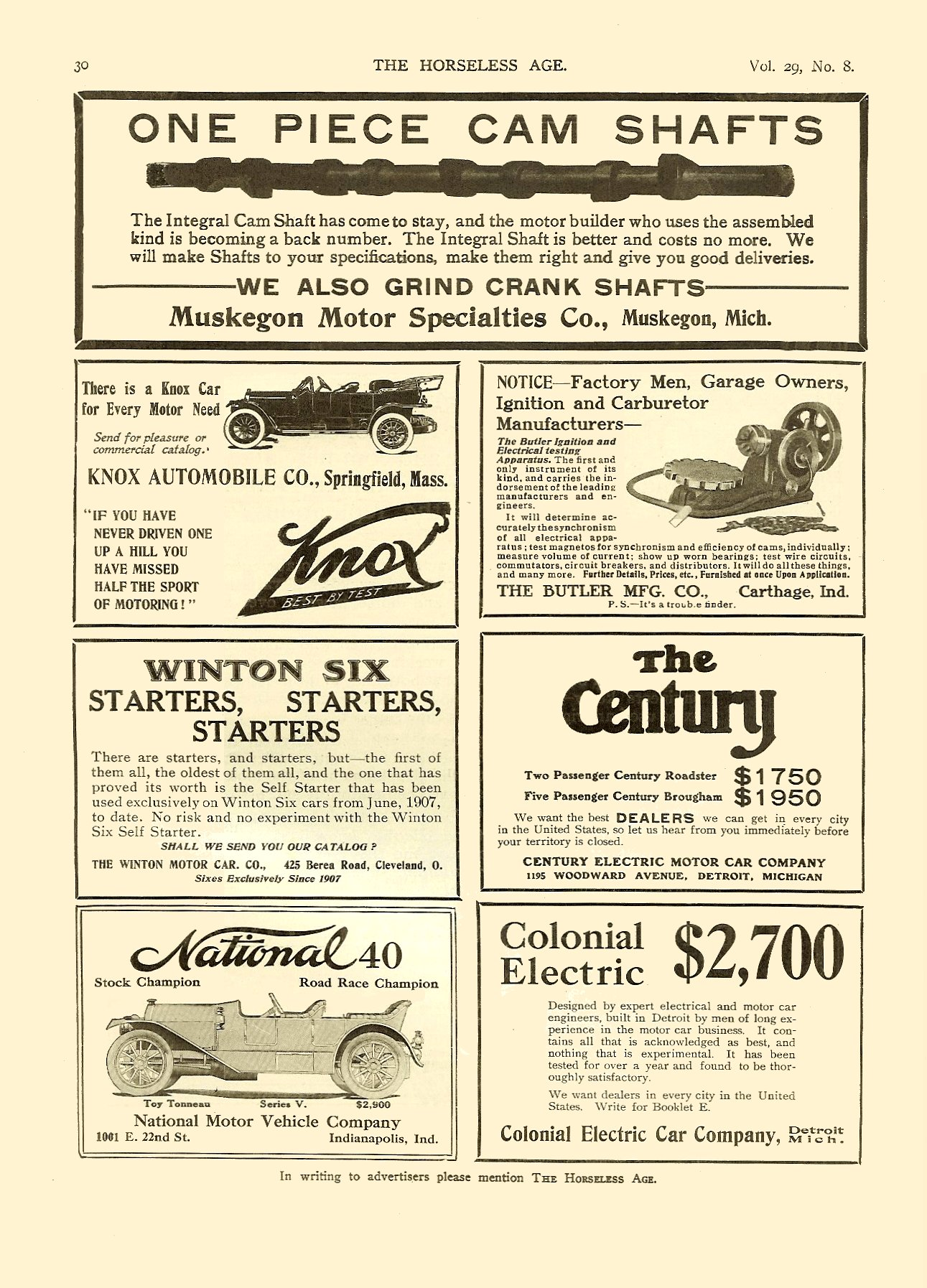 1912 2 21 NATIONAL 40 THE HORSELESS AGE Vol. 29, No. 8 February 21, 1912 9″x12″ page 30