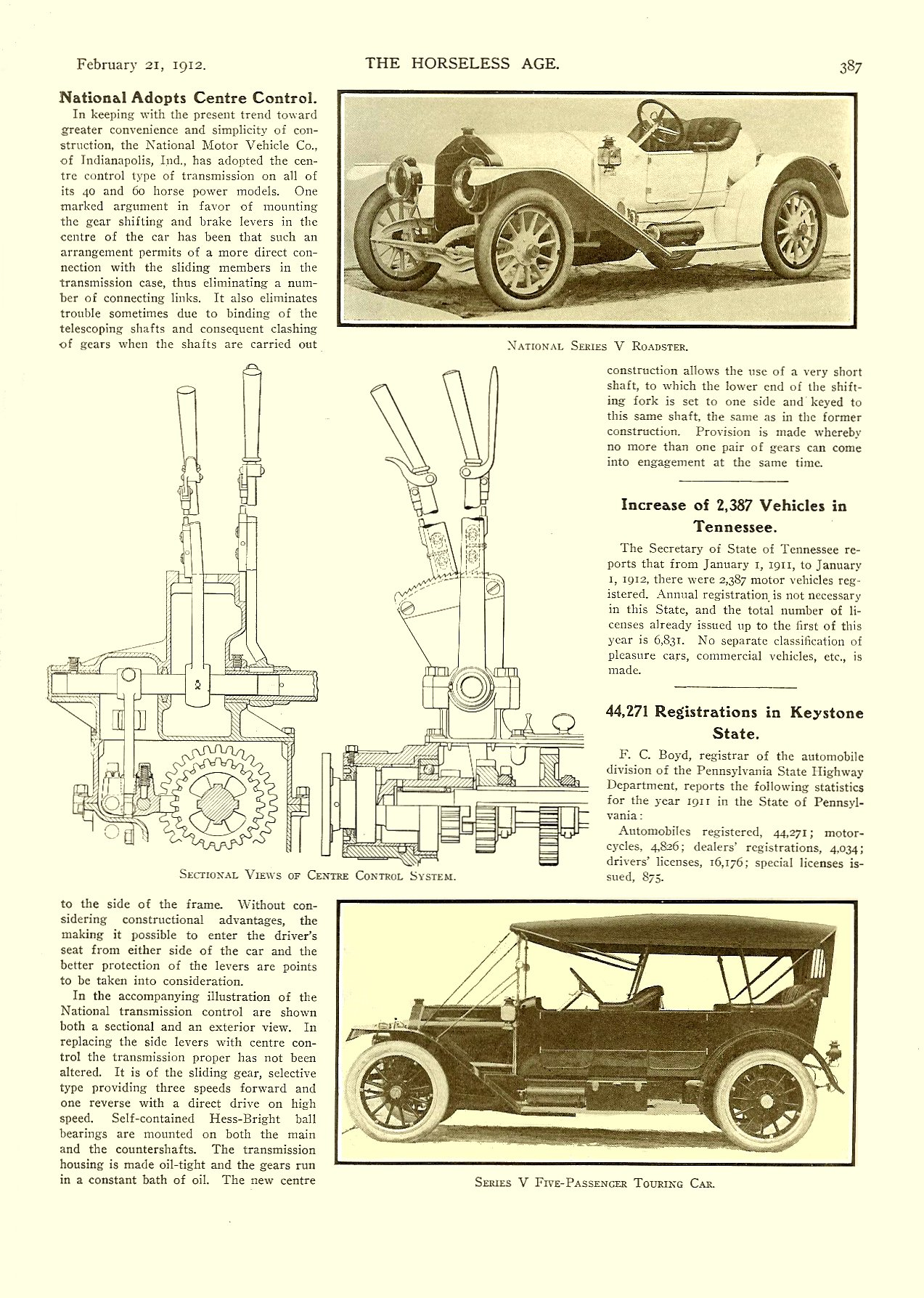 1912 2 21 NATIONAL National Adopts Centre Control THE HORSELESS AGE Vol. 29, No. 8 February 21, 1912 9″x12″ page 387