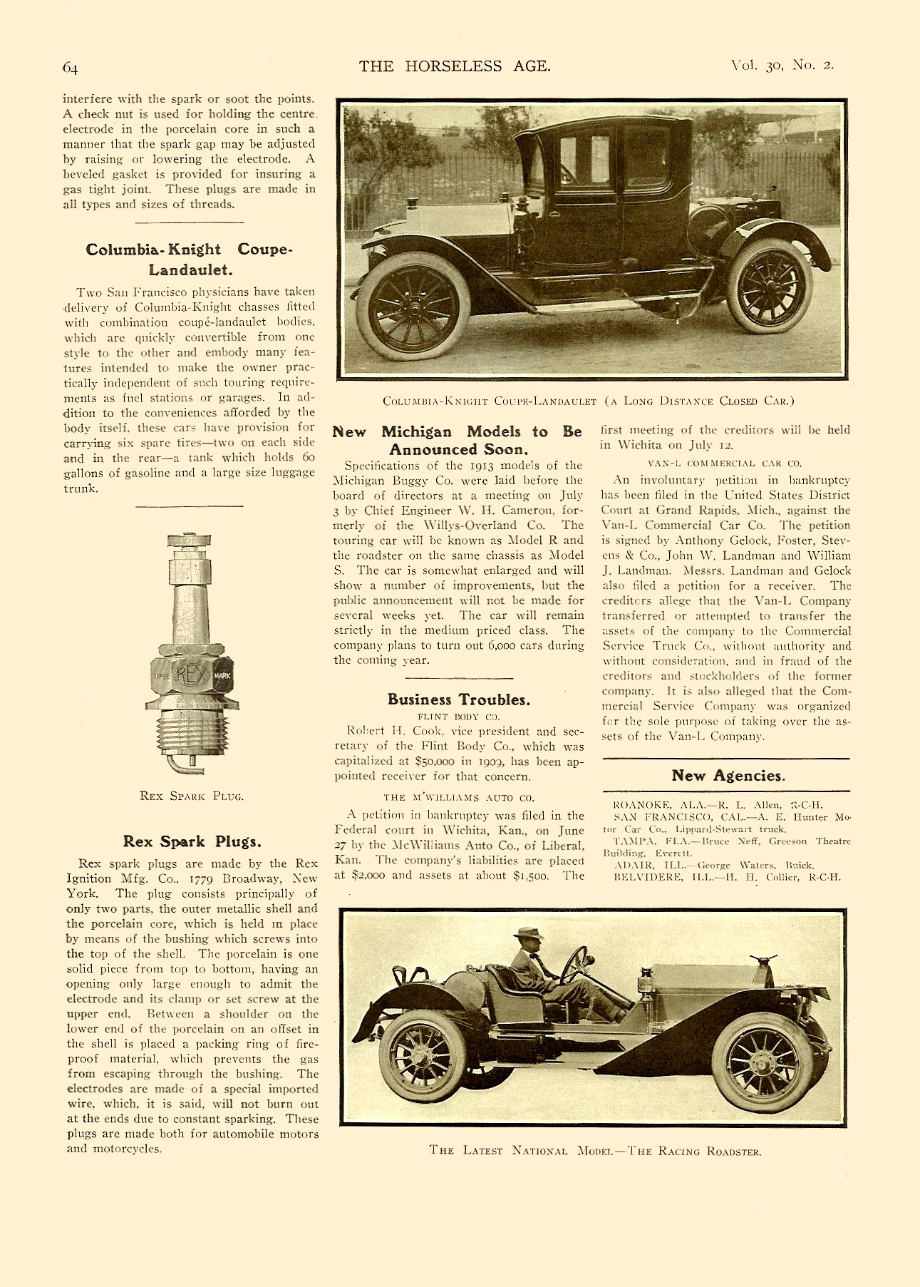 1912 7 10 NATIONAL The Latest National Model – The Racing Roadster THE HORSELESS AGE Vol. 30, No. 2 July 10, 1912 9″x12″ page 64