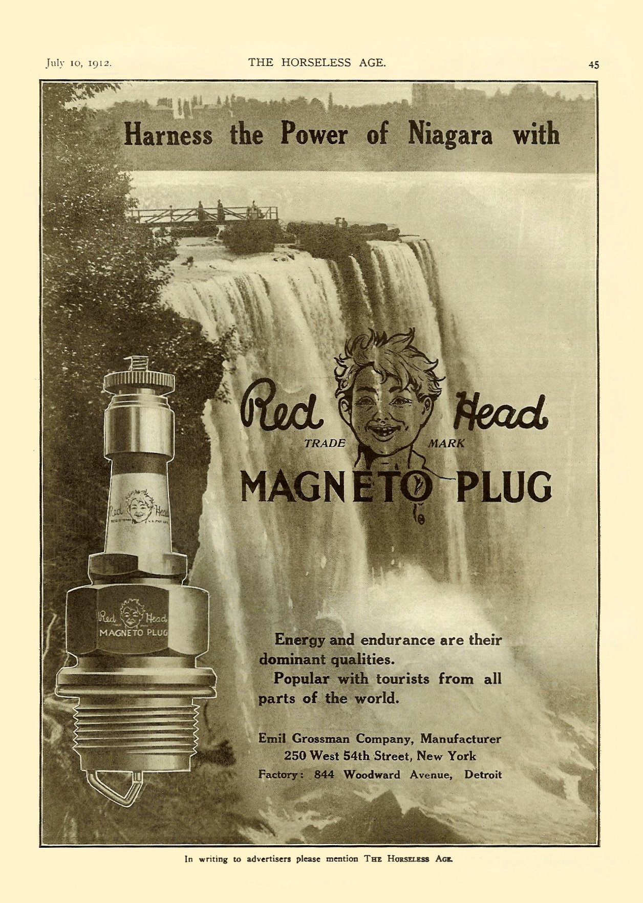 1912 7 10 RED HEAD Spark Plugs Harness the Power of Niagara with Emil Grossman M'F'G Co Inc Brooklyn (New York City) New York THE HORSELESS AGE Vol. 30, No. 2 July 10, 1912 9″x12″ page 45