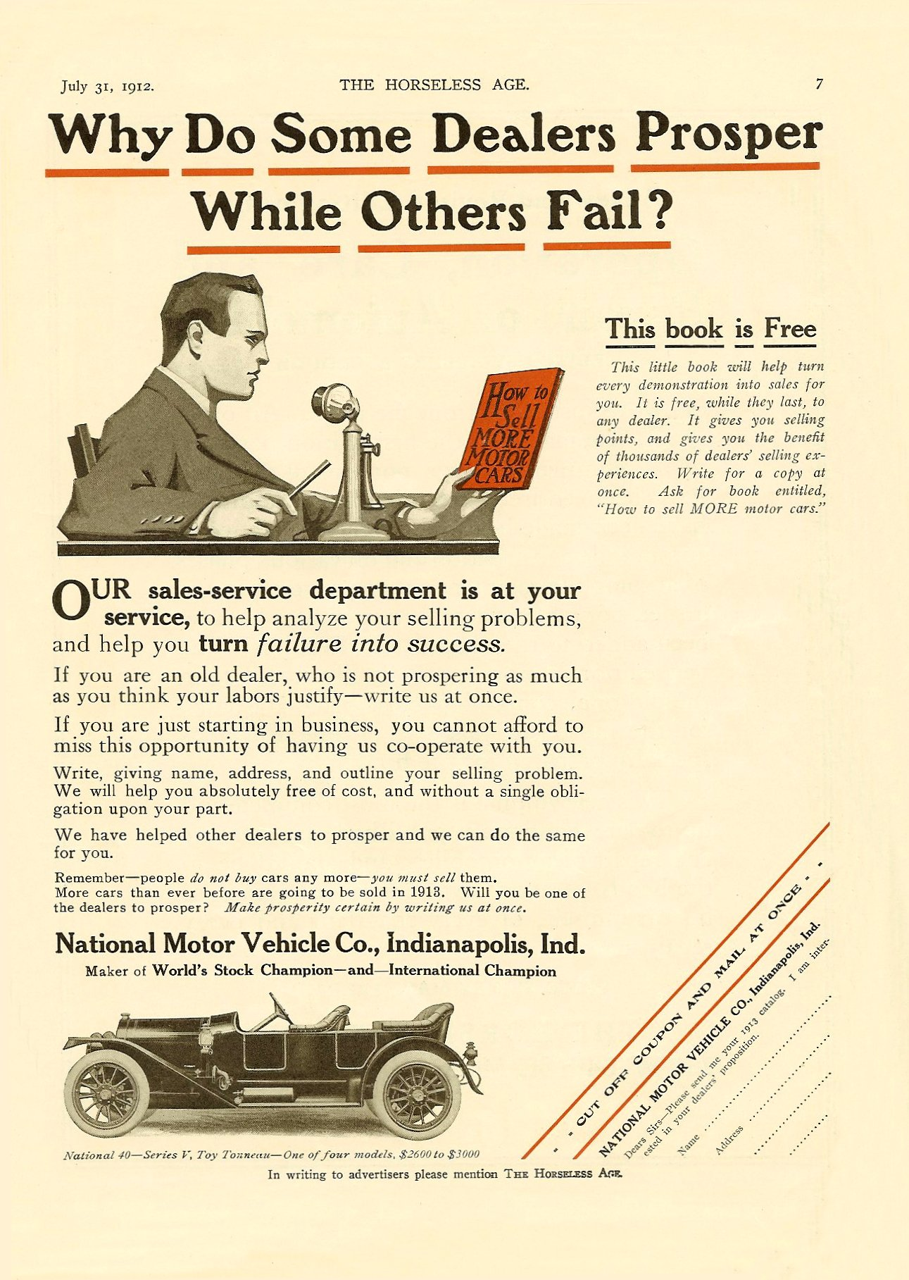 1912 7 31 NATIONAL Why Do Some Dealers Proper While Others Fail? THE HORSELESS AGE Vol. 30, No. 2 July 31, 1912 9″x12″ page 7