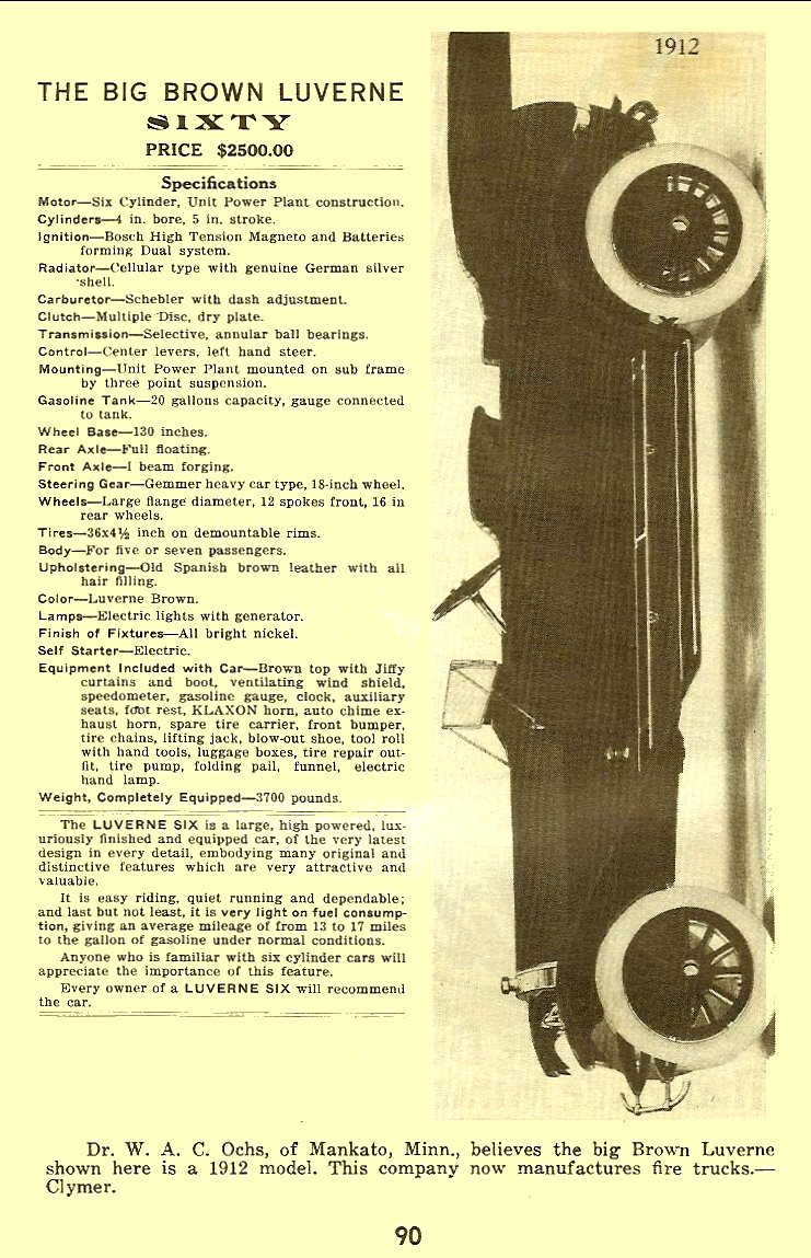 1912 BIG BROWN LUVERNE 60 Floyd Clymer's Historical Motor Scrapbook No. 3 ca. 1945 5.5″x8.5″ page 90