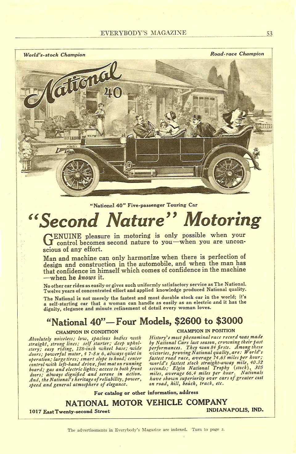 """1912 4 National 40 """"Second Nature Motoring"""" Everybody's Magazine April 1912 6.5″x9.75″ page 53"""