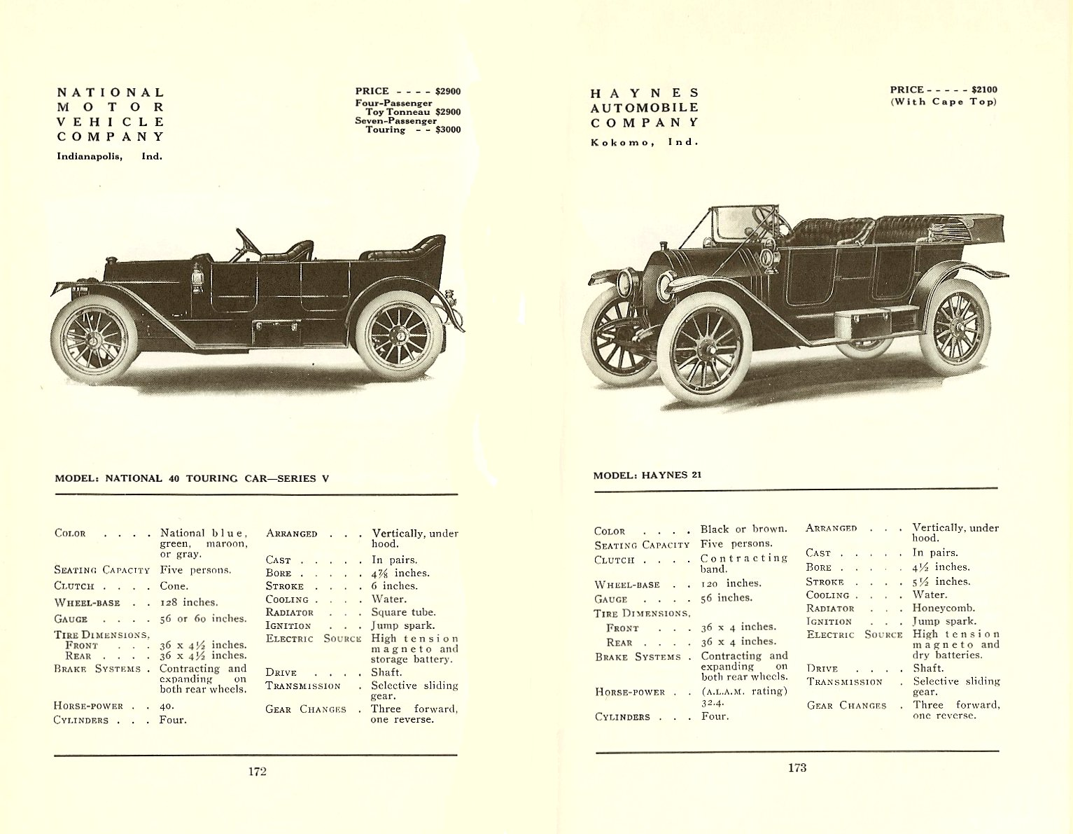1912 National 40 Touring Car Floyd Clymer's Historical Catalog of 1912 CARS 5.5″x8.5″ page 172