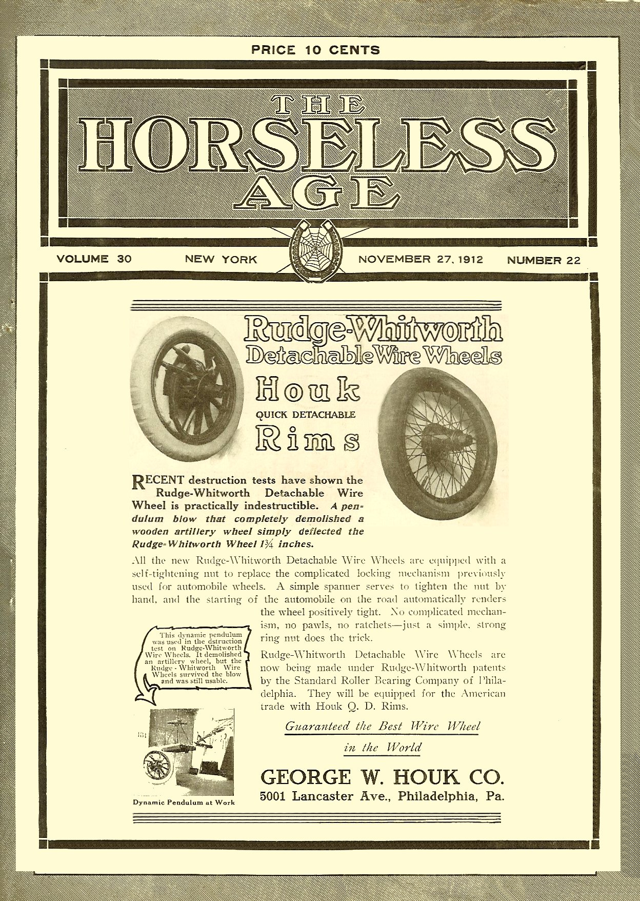 1912 11 27 Rudge-Whitworth Detachable Wire Wheels THE HORSELESS AGE Vol. 30, No. 22 November 27, 1912 9″x12″ Front cover