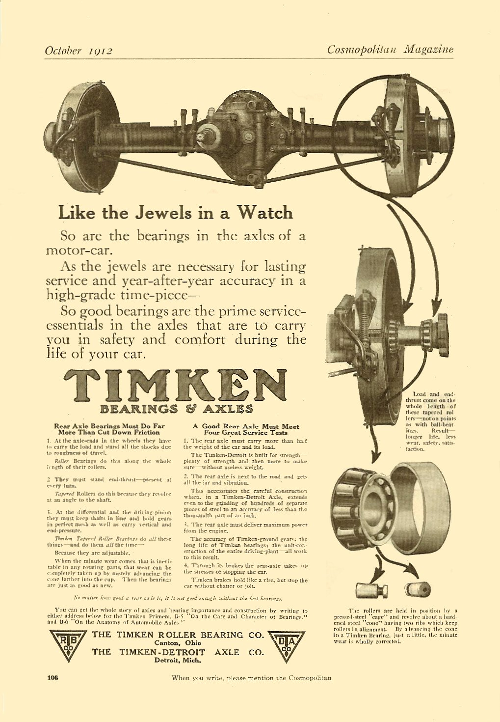 1912 10 TIMKEN Bearings & Axles October 1912 Cosmopolitan Magazine 6.75″x9.75″ page 106