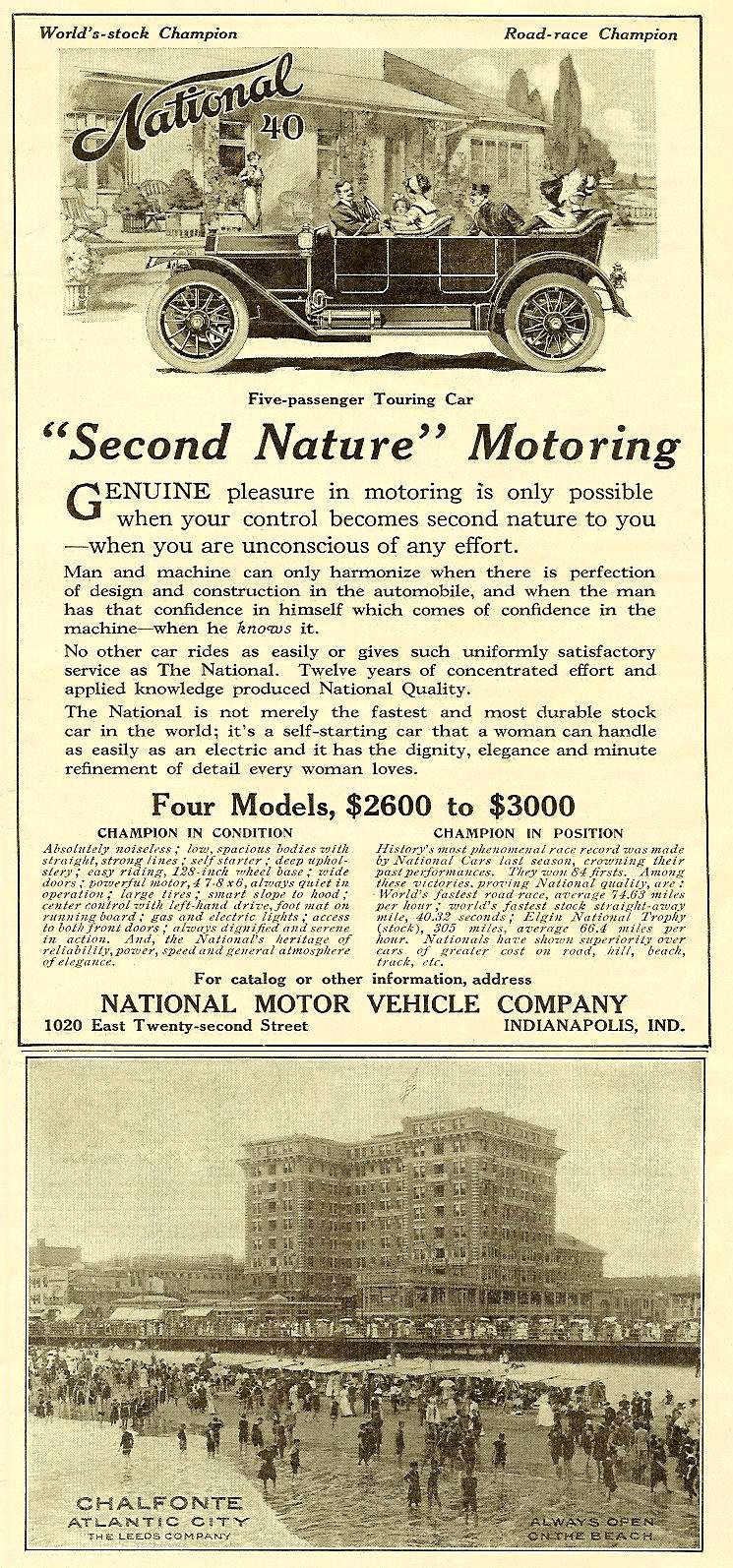"""1912 3 9 National 40 """"Second Nature"""" Motoring Harper's Weekly Advertiser magazine March 9, 1912 5″x7″ page 25"""
