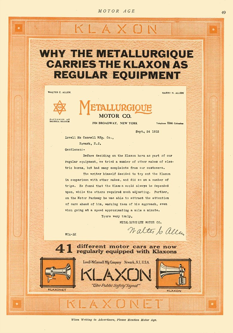 "1912 12 19 KLAXON Horns ""The Public Safety Signal"" Lovell-McConnell Mfg Company Newark, New Jersey MOTOR AGE Dec 19, 1912 8.5″x12″ page 49"