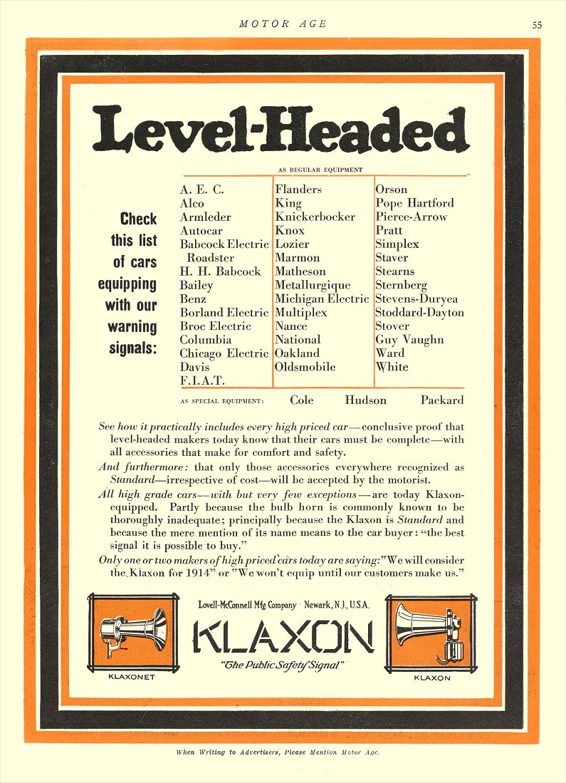 "1912 12 26 KLAXON Horns LEVEL-HEADED ""The Public Safety Signal"" Lovell-McConnell Mfg Company Newark, New Jersey MOTOR AGE Dec 26, 1912 8.75″x12″ page 55"