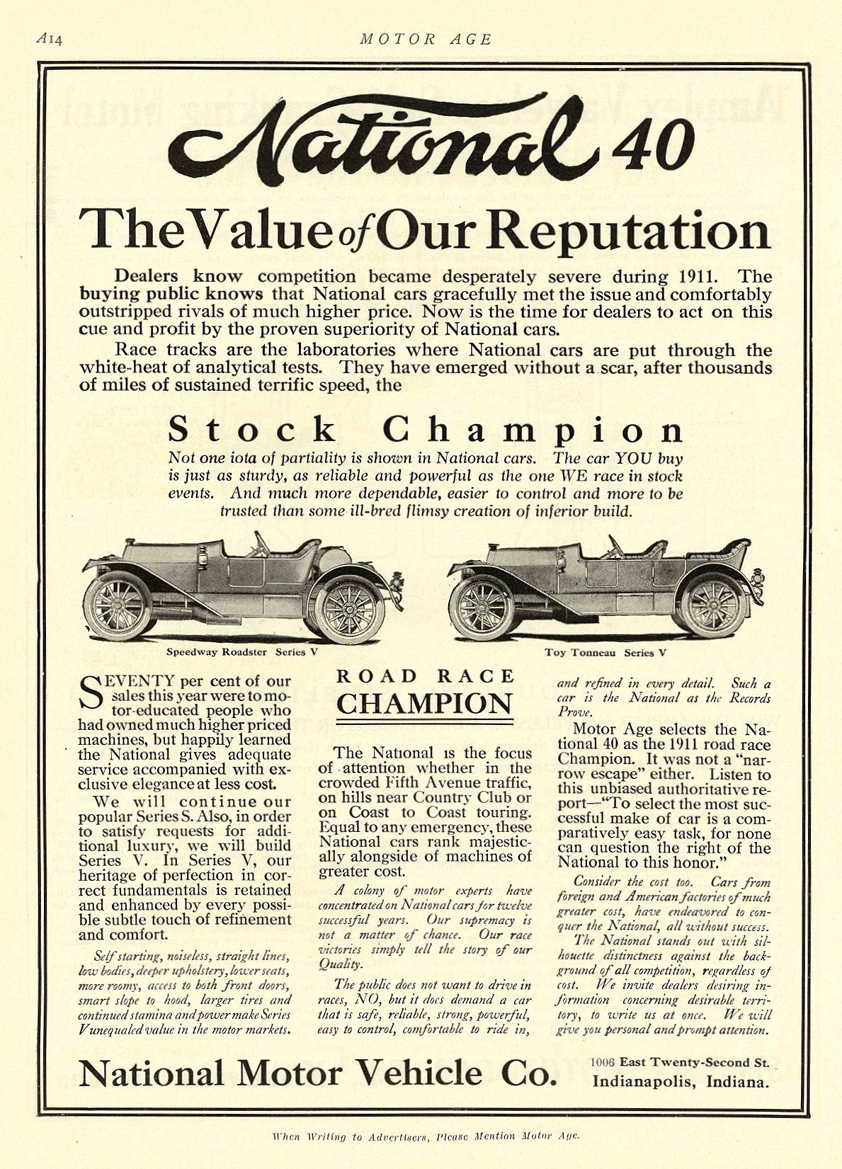1912 1 11 NATIONAL National 40 The Value of Our Reputation National Motor Vehicle Co. Indianapolis, IND MOTOR AGE January 11, 1912 8.5″x12″ page A14