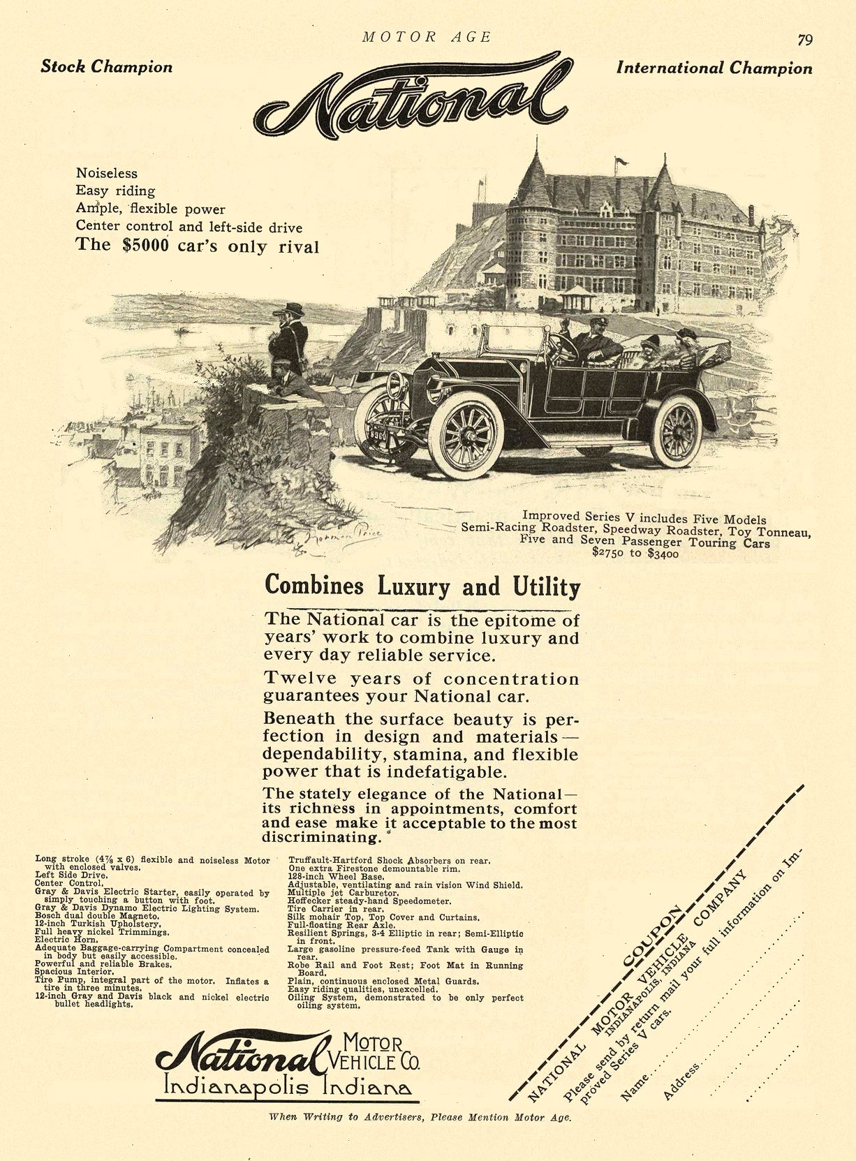 1912 12 12 NATIONAL National Combines Luxury and Utility National MOTOR VEHICLE CO. Indianapolis, IND MOTOR AGE December 12, 1912 8.25″x12″ page 79