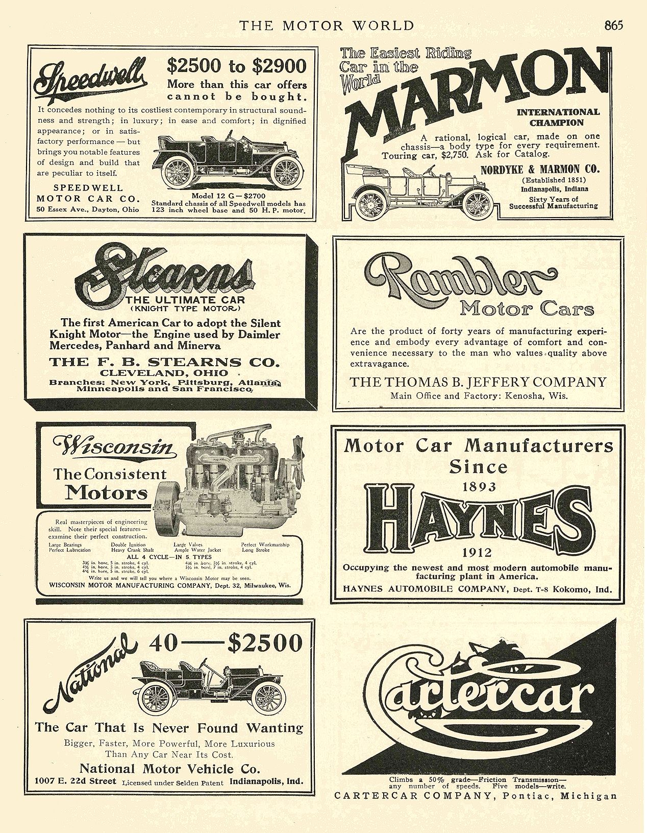 1912 2 15 NATIONAL National 40—–$2500 National Motor Vehicle Co. Indianapolis, IND THE MOTOR WORLD February 15, 1912 8.5″x12″ page 865