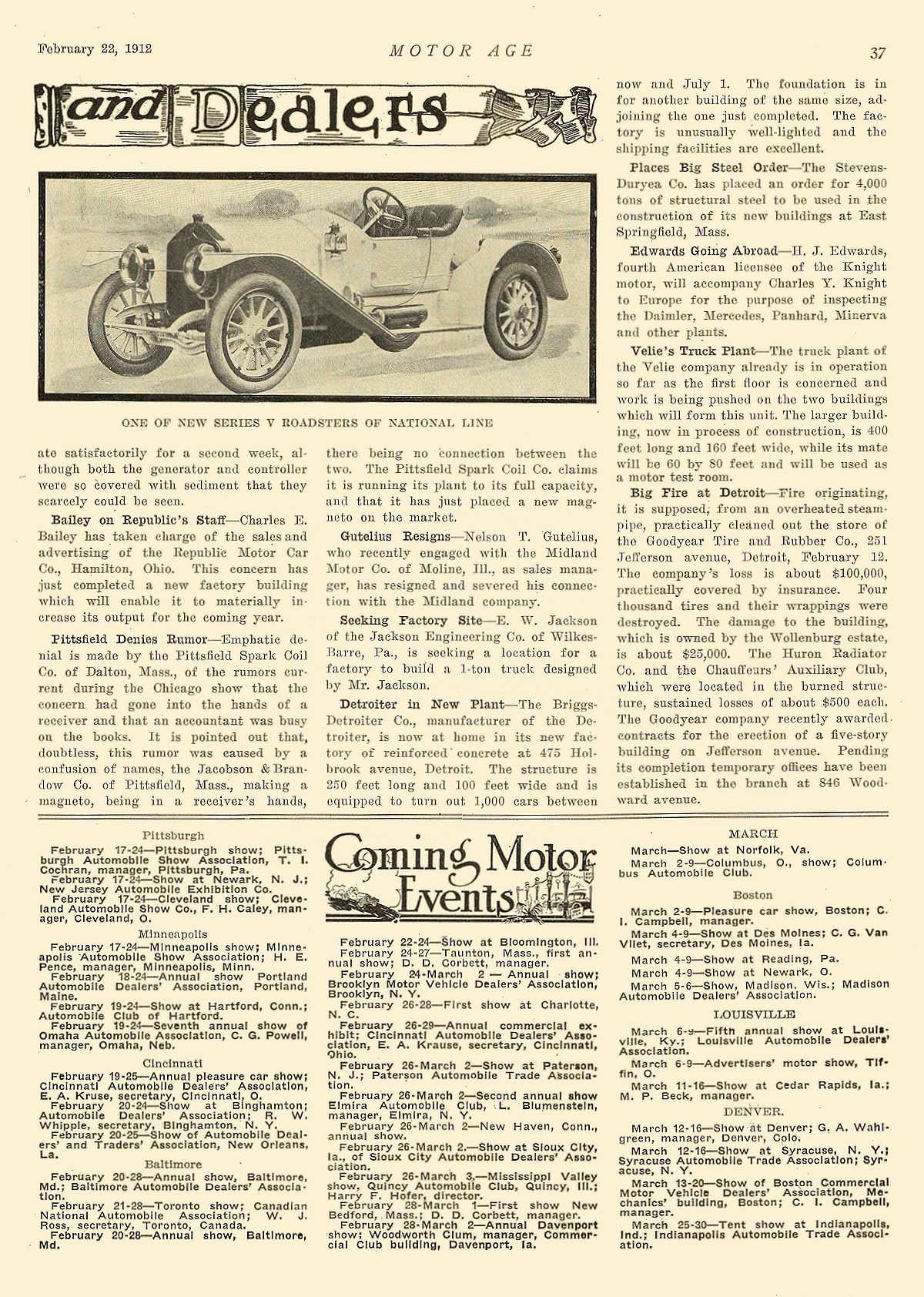 1912 2 22 NATIONAL ONE OF NEW SERIES V ROADSTERS OF NATIONAL LINE National Motor Vehicle Co. Indianapolis, IND MOTOR AGE February 22, 1912 8.25″x12″ page 37