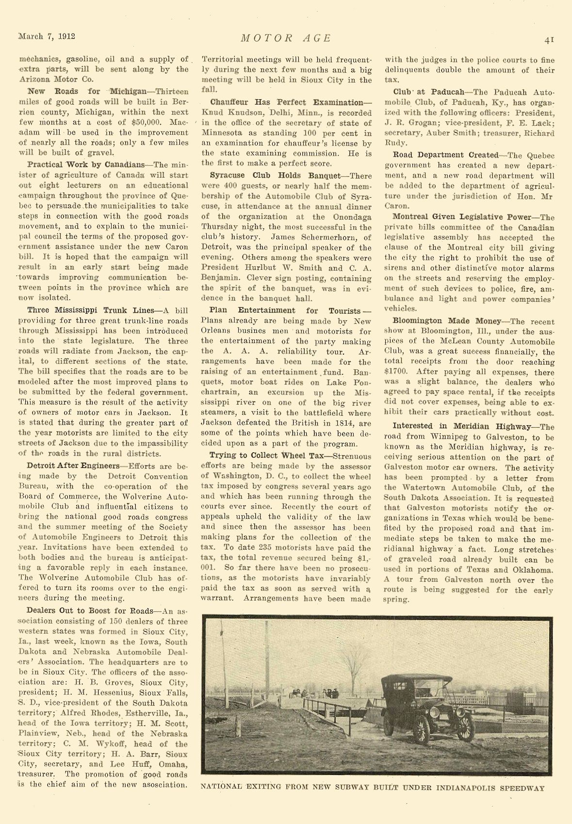 1912 3 7 NATIONAL NATIONAL EXISTING FROM NEW SUBWAY BUILT UNDER INDIANAPOLIS SPEEDWAY National Motor Vehicle Co. Indianapolis, IND MOTOR AGE March 7, 1912 8.5″x12″ page 41