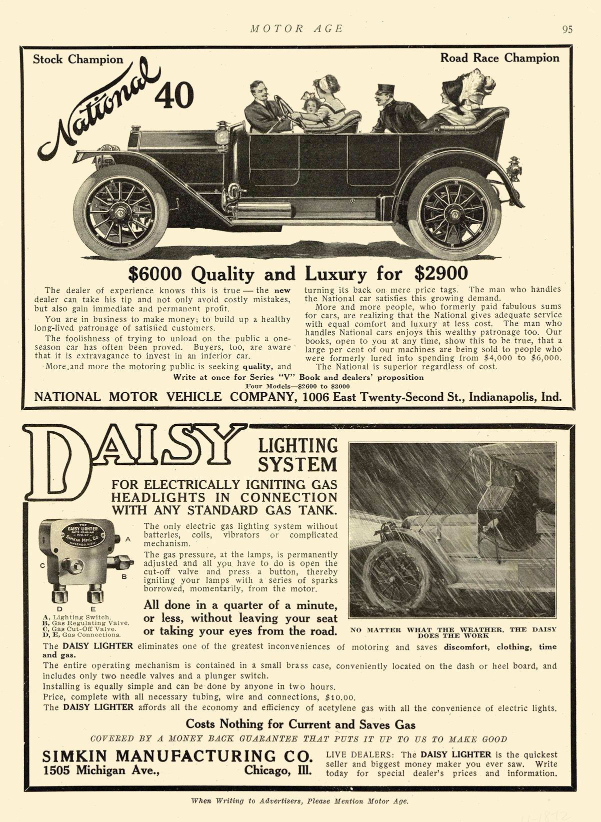 1912 4 18 NATIONAL National 40 $6000 Quality and Luxury for $2900 NATIONAL MOTOR VEHICLE COMPANY Indianapolis, IND MOTOR AGE April 18, 1912 8.25″x12″ page 95