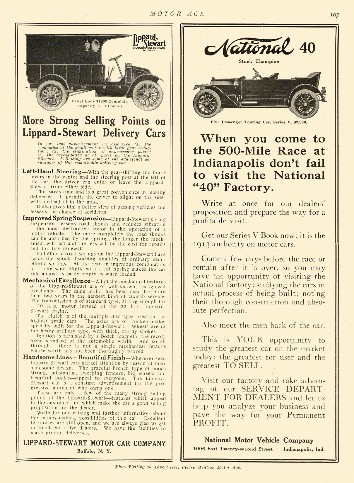 """1912 5 23 NATIONAL National 40 visit the National """"40"""" Factory National Motor Vehicle Company Indianapolis, IND MOTOR AGE May 23, 1912 8.5″x12″ page 107"""