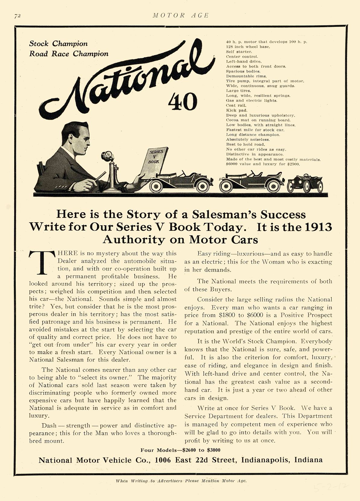 1912 5 2 NATIONAL National 40 Stock Champion Road Race Champion National Motor Vehicle Co. Indianapolis, IND MOTOR AGE May 2, 1912 page 72 8.5″x12″