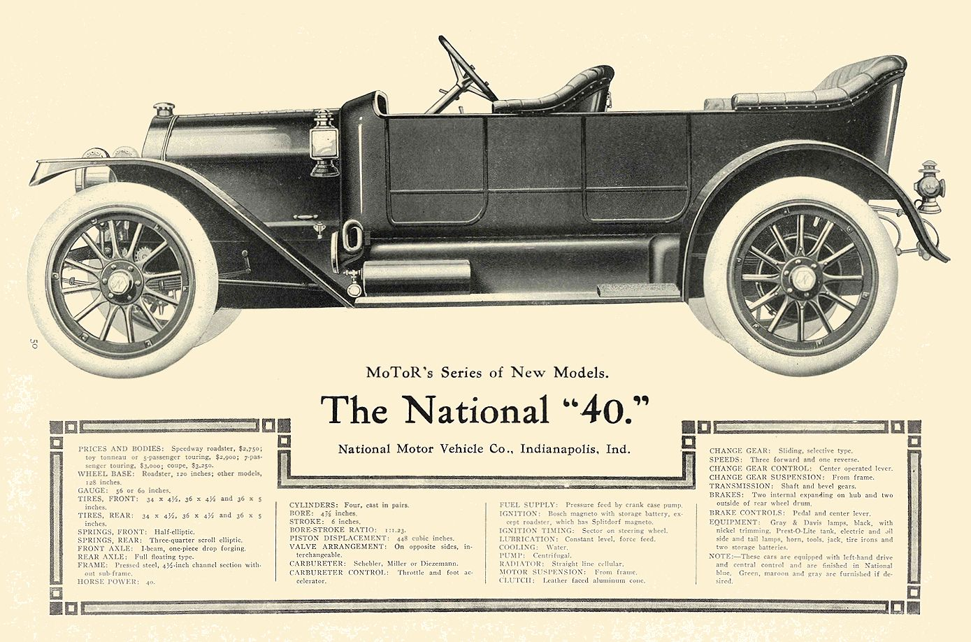 """1912 6 NATIONAL MoToR's Series of New Models The National """"40."""" National Motor Vehicle Co. Indianapolis, IND MoToR June 1912 9.5″x13.5″ page 50"""