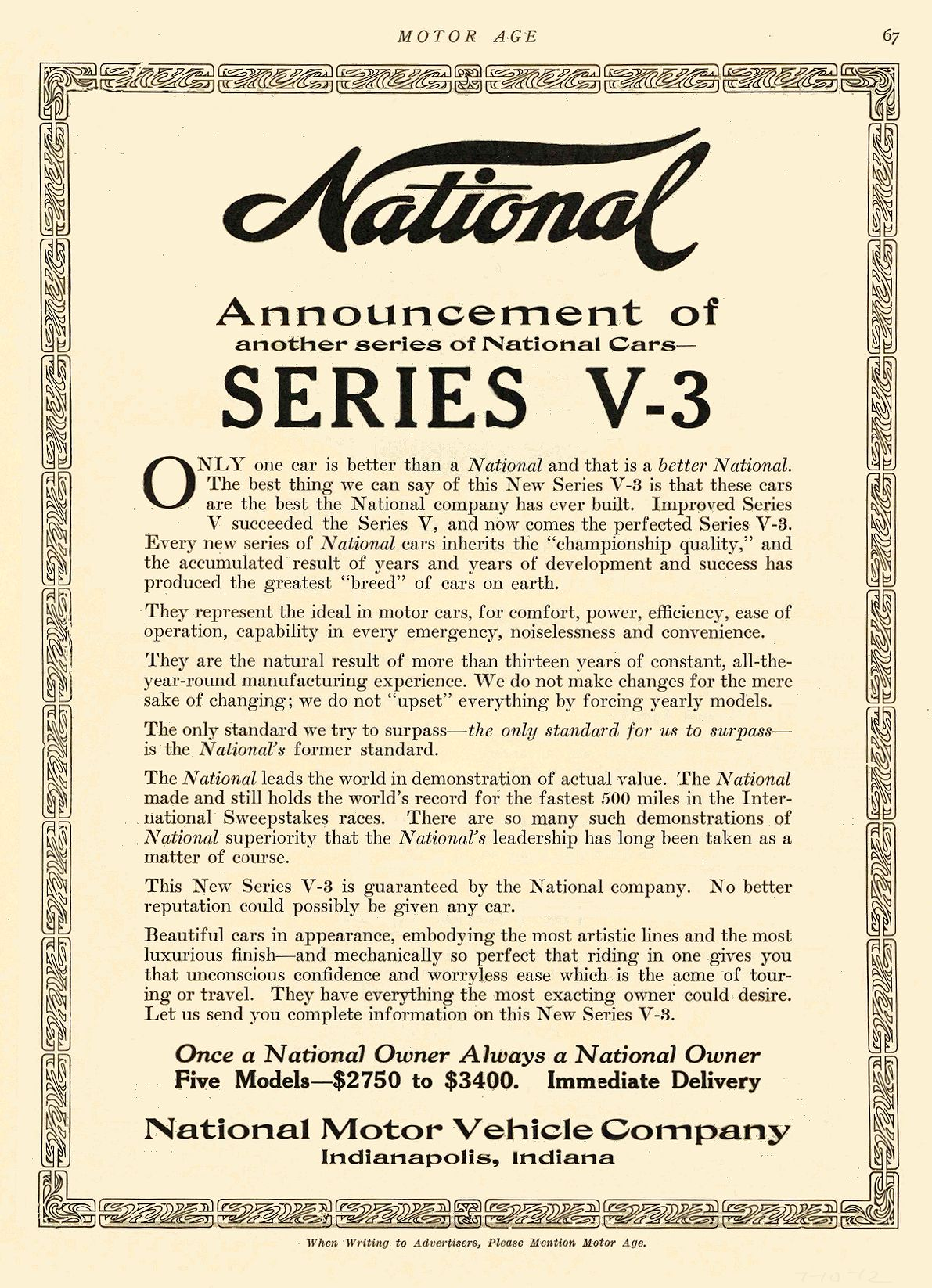 1912 7 10 NATIONAL Announcement of SERIES V-3 National Motor Vehicle Company Indianapolis, IND MOTOR AGE July 10, 1912 8.5″x11.75″ page 67