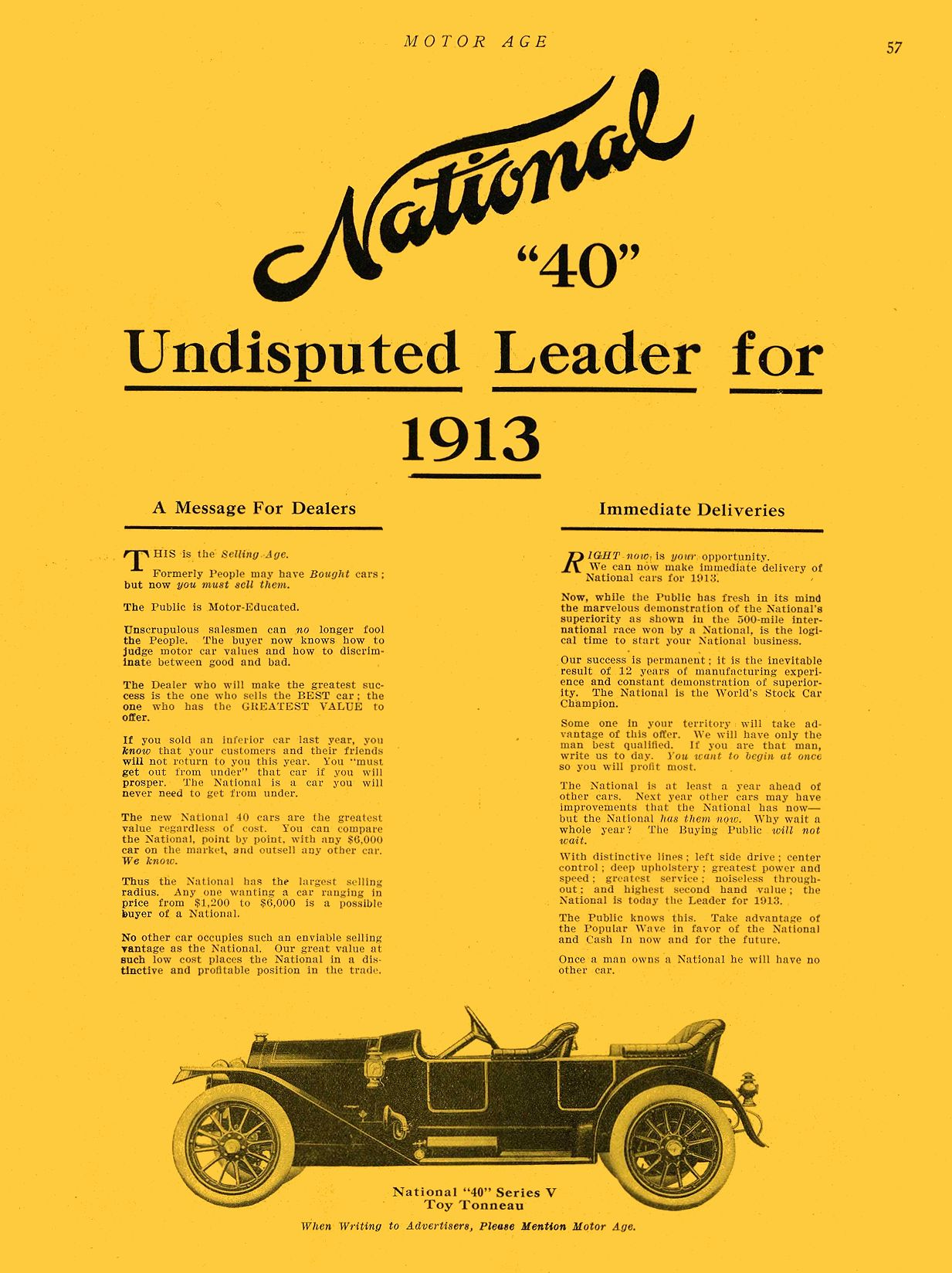 """1912 7 11 NATIONAL National """"40"""" Undisputed Leader for 1913 NATIONAL MOTOR VEHICLE CO. Indianapolis, IND MOTOR AGE July 11, 1912 9″x12″ page 57"""