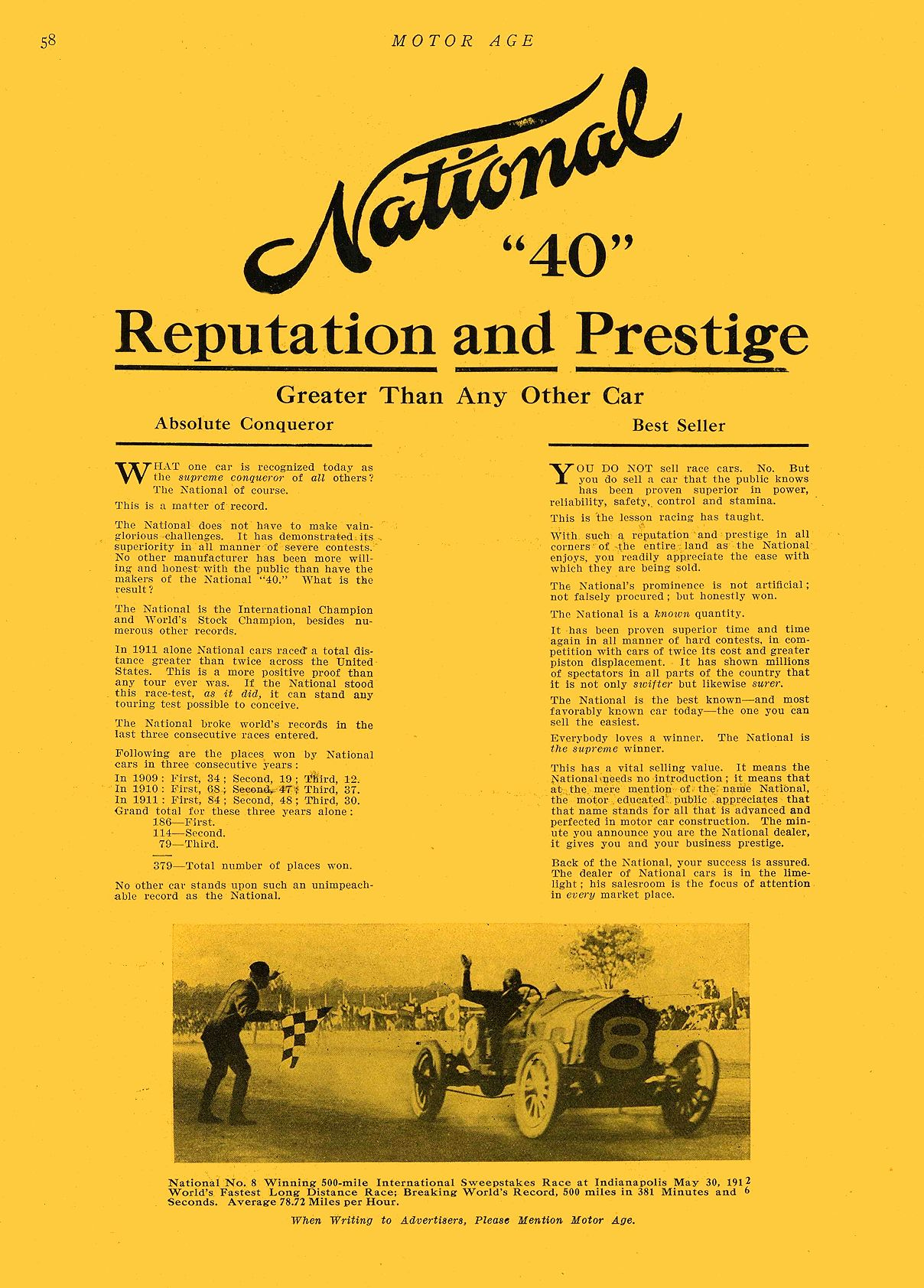 """1912 7 11 NATIONAL National """"40"""" Reputation and Prestige NATIONAL MOTOR VEHICLE CO. Indianapolis, IND MOTOR AGE July 11, 1912 9″x12″ page 58"""
