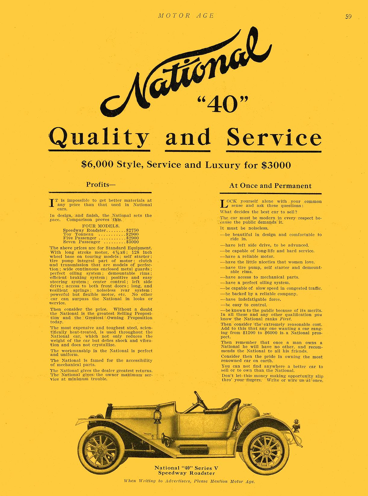 """1912 7 11 NATIONAL National """"40"""" Quality and Service NATIONAL MOTOR VEHICLE CO. Indianapolis, IND MOTOR AGE July 11, 1912 9″x12″ page 59"""