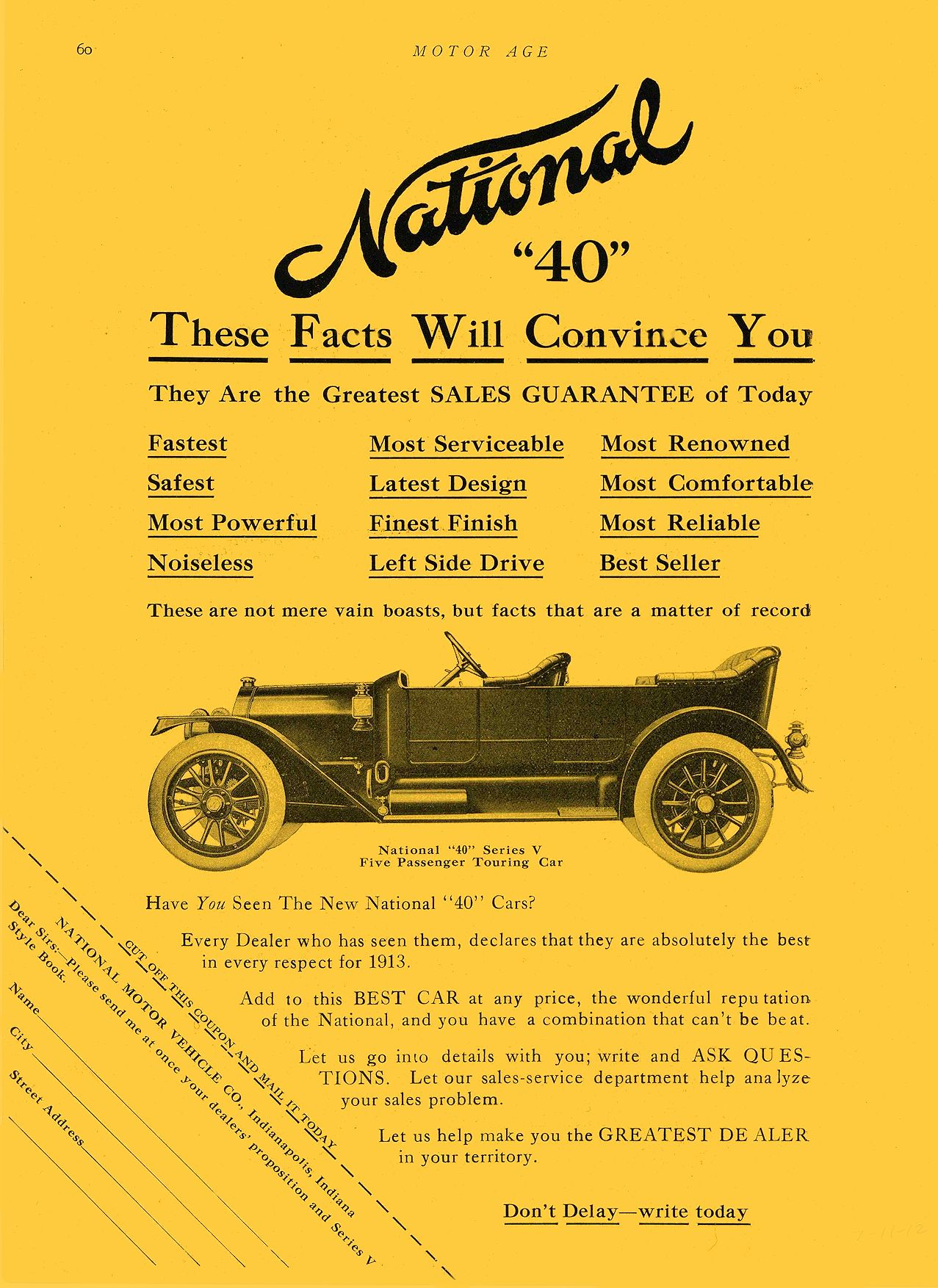 """1912 7 11 NATIONAL National """"40"""" These Facts Will Convince You NATIONAL MOTOR VEHICLE CO. Indianapolis, IND MOTOR AGE July 11, 1912 9″x12″ page 60"""